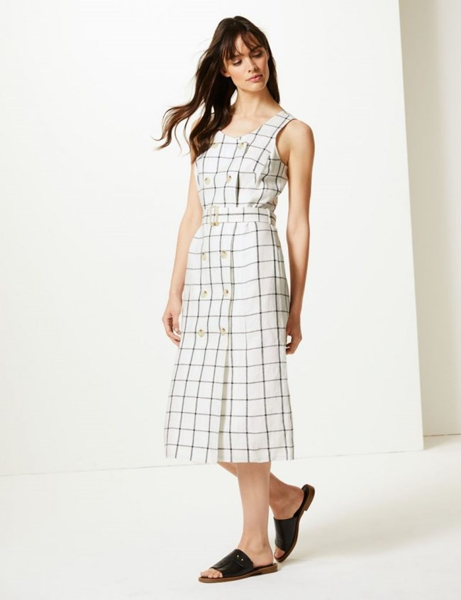 Pure Linen Checked Relaxed Midi Dress