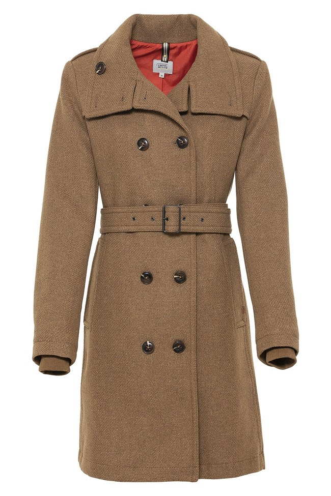 μακρύ παλτό με πέτο και ζώνη